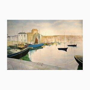 Grande Peinture à l'Huile de Paysage Tranquil Harbour, 2020