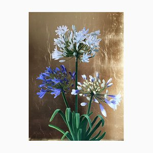 Agapanthus on Gold, Mixed Media Floral Painting, 2020