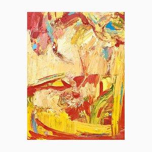 Gelbes Trapez, Abstraktes Expressionistisches Ölgemälde, 2018