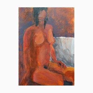 Modelo rojo, pintura sobre papel, Angela Lyle