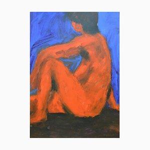 Neon Akt, Mixed Media Malerei auf Papier von Angela Lyle, 2001