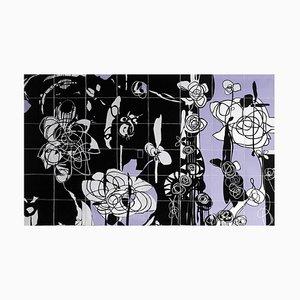 Rhosyn Du Black Rose Quilt Wandbehang von Bethan Ash