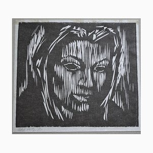 Kopf einer Frau, Gerald Coles, 1958, Holzschnitt