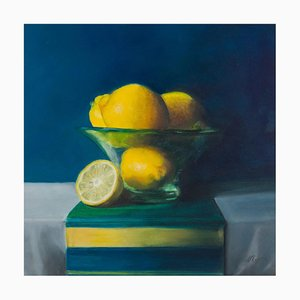 Lemons in a Frosted Glass Bowl, Still Life, Oil Painting