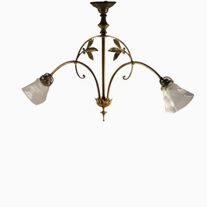 Art Nouveau Double Arm Brass Pendant Lamp, 1900s