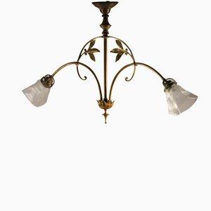 Lampe à Suspension Art Nouveau Double en Laiton, 1900s