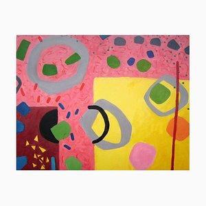 Yellow Edge - Circus, Pintura al óleo abstracta, 2018