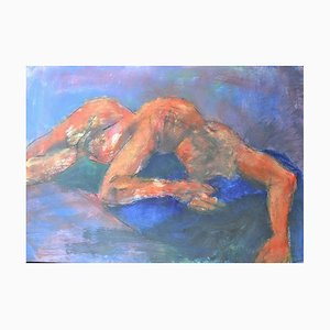 Schlafen, Mixed Media Malerei auf Papier von Angela Lyle