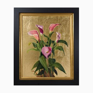 Pink Calla Lilies, Still Life, Oil Painting