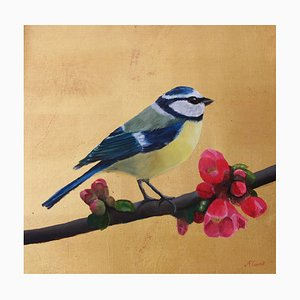 Blue Tit on Gold With Japonica Blossom, Oil Paint and Gold Leaf Painting, 2019