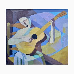 Ernest Neuschul, The Singing Lute Player, Singing Lutenist, Oil on Linen