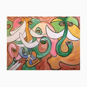 Nosy Elephants, Oil Painting, 2014