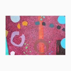 Peinture à l'Huile Abstraite en Granite Rouge, 2009