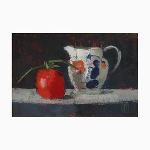 Jarra Gaudy con tomate, Bodegón contemporáneo, óleo sobre lienzo, 2018
