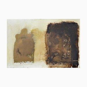 Pintura al óleo abstracta contemporánea en marrón y blanco de Paul Wadsworth, 2003