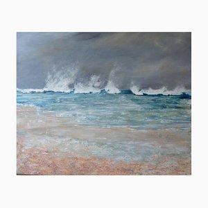 Peinture à l'Huile White Water, Paysage Marin Contemporain, 2017