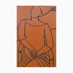 Orange Mono Figure, Contemporary Mixed Media Figurative Painting by John Emanuel
