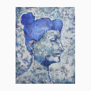 Pittura ad olio figurativa contemporanea blu