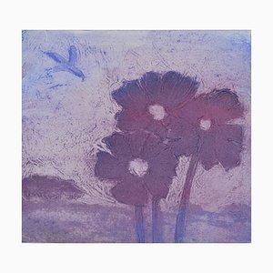 Purple Mohnblumen, Contemporary Limited Edition Radierung, 2017
