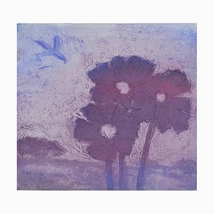 Purple Poppies, Contemporary Limited Edition Etching, 2017