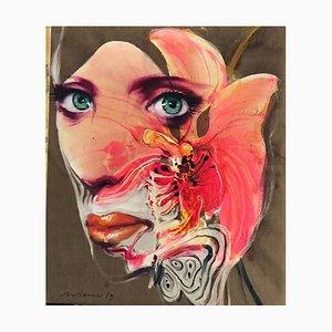 Orchid Woman, Contemporary Figurative Ölgemälde, 2019