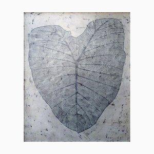 Colocasia, Peinture à l'Encre Contemporaine avec Glaçage de Cire d'Abeille