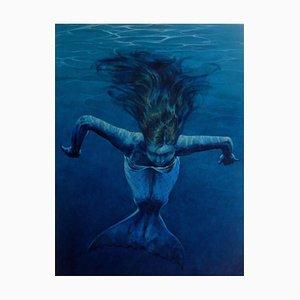 Mermaid Drifting, Contemporary Figurative Oil Painting, 2015