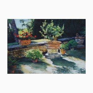 Blumentöpfe: Contemporary Pastell Stillleben Gemälde von Keith Bowen