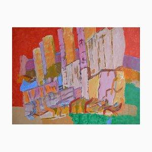 Abstrakte Skyline der Stadt, Abstrakte Expressionistische Malerei, 1990