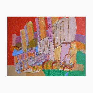 City Skyline, Contemporary Abstract Expressionist Painting, 1990