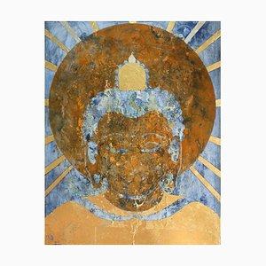 Nirvana, Pittura ad olio contemporanea, foglia dorata, 2016