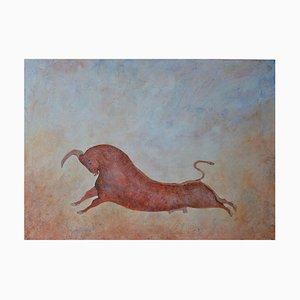 Taurus the Bull, pintura al óleo contemporánea de Penny Rumble