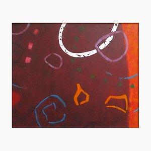 Frammenti lilla, contemporanea pittura ad olio astratta, 2018