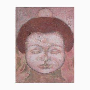 Buddha incrinato, dipinto contemporaneo di Buddha, 2001