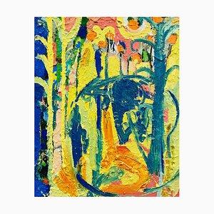Como hablar con el elefante, pintura al óleo abstracta expresionista contemporánea, 2020