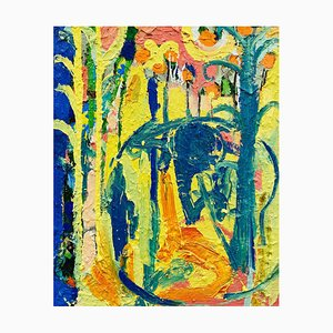 Talking to the Elephant, Contemporary Abstract Expressionist Oil Painting, 2020