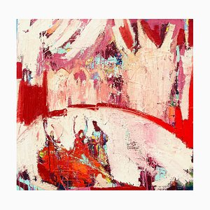 Indian Circus, Contemporary Abstract Expressionist Oil Painting, 2020