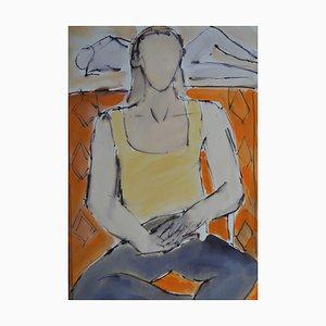 Romy: Contemporary Mixed Media Figurative Painting by John Emanuel, 2015