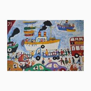The Wharf, St Ives: Contemporary Outsider Art Ölgemälde, 2000