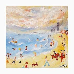 Donkey Days on the Sand, Zeitgenössisches Naïtives Schul Gemälde, 2019