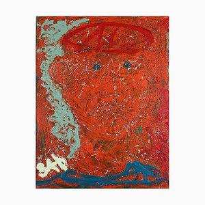 Blue Eyed Guardian, pittura ad olio neo-espressionista contemporanea, 2019