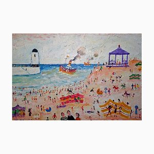 St Ives, Contemporary British Naive Art Oil Painting, 2008