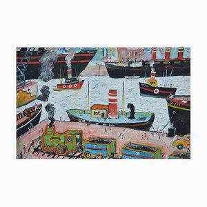 Liverpool Docks, Contemporary Outsider Art Ölgemälde, 2003