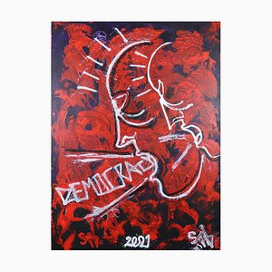 Democracy (All Over the World), Pittura ad olio neo-espressionista contemporanea, 2021