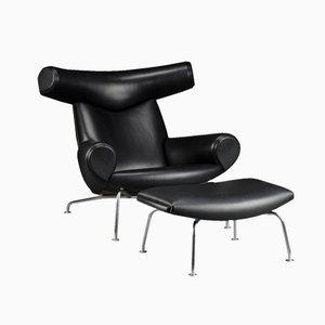 Vintage EJ-100 Ox Chair mit Fußhocker von Hans J. Wegner für Erik Jorgensen