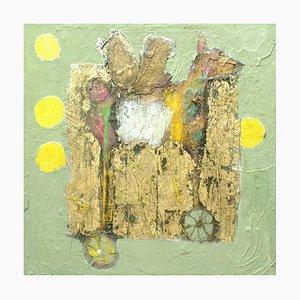 Toy Dragon, Contemporary Abstract Gemälde in Öl mit Blattgold, 2015