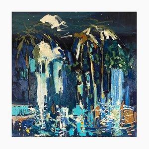 Night Garden, Zeitgenössisches Abstraktes Expressionistisches Ölgemälde, 2021