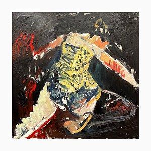 Goldenes Korsett, Abstraktes Expressionistisches Ölgemälde, 2021