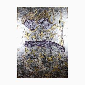 Peace to America Large, Contemporary Öl, Gold & amp; Silberblatt Gemälde, 2020