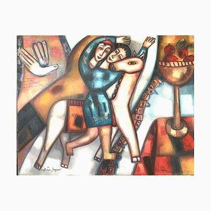 Dove sei? Here I Am, pittura ad olio figurativa contemporanea, 2006